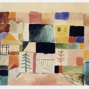 Paisaje de París con casas y árboles, 1950