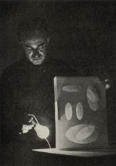 Sempere with one of his firsts boxes of light.