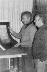 Eusebio Sempere and Abel Martín at his house in Madrid, where they made their serigraphies. 1978.
