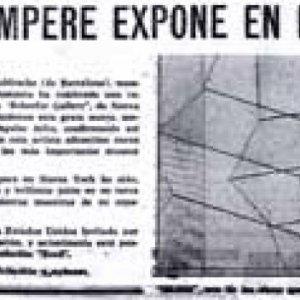 Recorte prensa: Eusebio Sempere expone en Nueva York. Informaciones de Alicante 20/5/63.