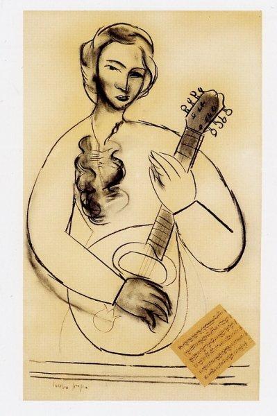 Mujer con mandolina 1949